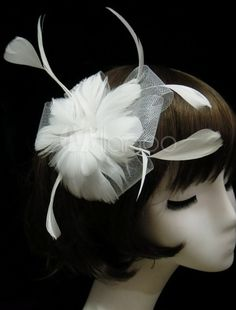 White Feather Mesh Gorgeous Head Flower for Wedding