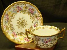 Antique Delinieres Limoges France Bouillon Cup Saucer Set Pink Rose Floral Gold #DelinieresLimoges