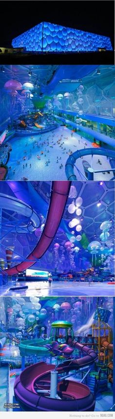 Funny pictures about The China Olympic Cube turned into an indoor water park. Oh, and cool pics about The China Olympic Cube turned into an indoor water park. Also, The China Olympic Cube turned into an indoor water park photos. Vacation Destinations, Dream Vacations, Vacation Spots, Oh The Places You'll Go, Places To Visit, Fun Places To Travel, Thinking Day, Water Slides, Cool Pools