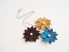 Leather Flowers Necklace Honey Turquoise BluePearl by BijuBrill, $25.00