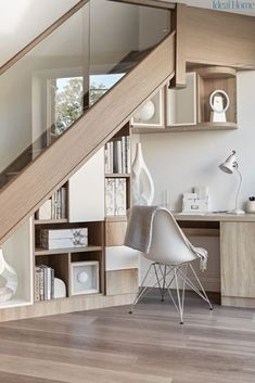 Office Under Stairs, Space Under Stairs, Under The Stairs Toilet, Stairs For Tight Spaces, Staircase Storage, Stair Storage, Open Staircase, Spiral Staircases, Staircase Design
