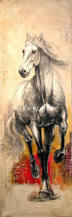 """©LéaRivière «Sérénité» 72""""x24"""" 182cmx60cm vendu-sold"""