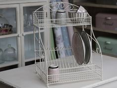 White Wire French Display Rack Vintage Style Plate Holder Storage Dish Drainer | Home & Garden, Kitchen, Dining & Bar, Kitchen Storage & Organization | eBay!