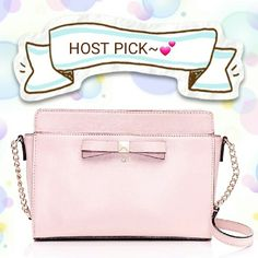 """HPx2 NWT Kate Spade Blush Pink Crossbody  2/20 """"Girly Girl"""" Party HP   BRAND NEW WITH TAGS, NEVER USED. Haven't fully decided if I want to part with this cute piece yet.  Blush Pink Kate Spade Crossbody with zip top closure. Interior slide pocket and exterior slide pocket for storing essentials. ??  Cute exterior bow detail: kate spade new york gold printed signature with stud.  MATERIAL - BLUSH PINK patent leather - 14-karat light gold plated hardware - style #wkru2780  Dimensions: 6.4""""h x…"""