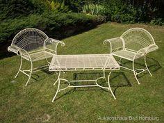 2x Gartensessel Eisen Sessel Gartentisch Creme Weiß Antik Stil Gartenmöbel