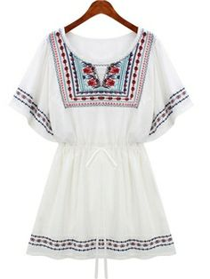 Woven Round Neck Short Sleeve A-line Embroidery Dress