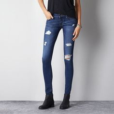 Jegging (Jeans) featuring polyvore, fashion, clothing, jeans, pants, bottoms, skinny, ae, dark destroy, skinny jeggings, ripped jeans, skinny low jeans, ripped skinny jeans and faded skinny jeans