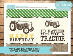 Set of 5x7 Vintage Tractor Bash Party Signs - INSTANT Download on Etsy, $3.20 CAD