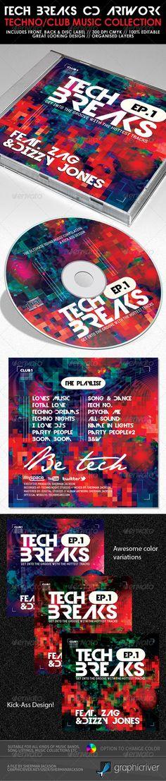 Tech Breaks CD Artwork PSD Template — Photoshop PSD #mixtape templates #cd cover design • Available here → https://graphicriver.net/item/tech-breaks-cd-artwork-psd-template/3368664?ref=pxcr