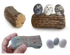 Three little owls painted on rocks perched on a stone-painted wooden trunk | The art of Roberto Rizzo | www.robertorizzo.com