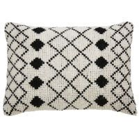 LOTI Ecru wool and cotton cushion with black motifs 40 x 60 cm