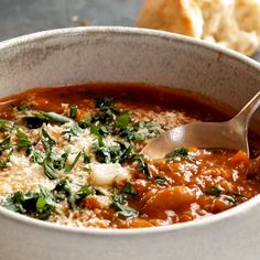 Instant Pot Minestrone Soup! Thick + chunky with veggies, garlic, beans, pesto, tomato sauce. Topped with Parm and served with bread. Easily made vegan. #vegetarian #vegan #instantpot #easy #dinner | pinchofyum.com Healthy Recipes, Soup Recipes, Vegetarian Recipes, Cooking Recipes, Vegan Vegetarian, Snacks Recipes, Mexican Recipes, Milk Recipes, Healthy Soup