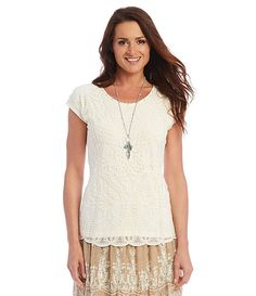 5ae473c0ccb Embroidered Scalloped Lace Front Top  Reba  RebaStyle  Dillards