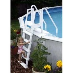 Easy Pool Step Entry System w Gate 4 Above Ground Pools on PopScreen Above Ground Pool Steps, Above Ground Pool Ladders, Above Ground Swimming Pools, In Ground Pools, Swimming Pool Steps, Swimming Pool Ladders, Lawn And Garden, Home And Garden, Simple Pool