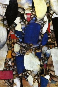 """Fernand Léger, """"Femme en Bleu"""" (1912). Joseph Fernand Henri Léger was a French painter, sculptor, and filmmaker. In his early works he created a personal form of cubism which he gradually modified into a more figurative, populist style."""