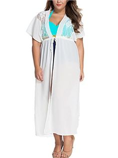 4c84edfdc639d GESELLIE Womens V Neck Drawstring Long Plus Size Swimwear Beach Cover Up  Dress at Amazon Women s Clothing store