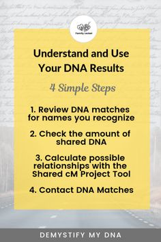 Understand and use your DNA results 4 simple steps infographic Free Genealogy Sites, Ancestry Dna, Genealogy Research, Family Genealogy, African American Genealogy, Dna Test Results, Mitochondrial Dna, Relationship Bases, My Family History
