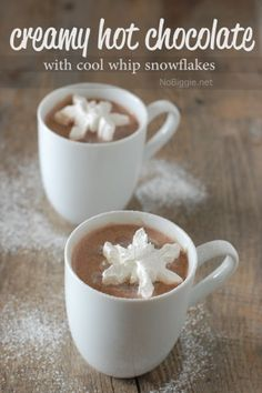 creamy hot chocolate recipe with cool whip snowflakes NoBiggie.net