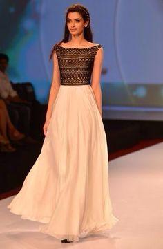 Bohemian dress on top, plain white long skirt for elegant look