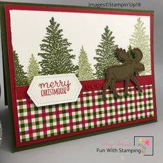 Create Christmas Cards, Stamped Christmas Cards, Christmas Paper Crafts, Homemade Christmas Cards, Xmas Cards, Homemade Cards, Holiday Cards, Stampin Up Christmas, Christmas Moose