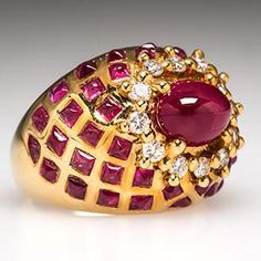 LeVian Estate Natural Ruby & Diamond Cocktail Ring Solid 18K Gold - EraGem |Pinned from PinTo for iPad|