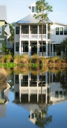 WaterColor - Scenic 30A Real Estate - GO TO THE BEACH Real Estate - House & Reflection