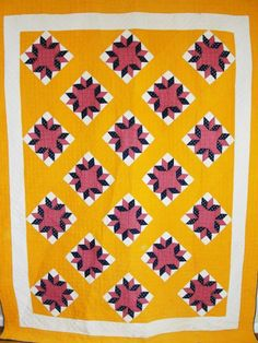 Antique 1880s Rich Cheddar Star QUILT ~ Beautiful Color by Vintageblessings on Ruby Lane
