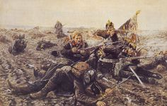 Defending the Flag: German soldiers of the 61st Regiment in action during the Franco-Prussian War. Painting by Erich Mattschatz.