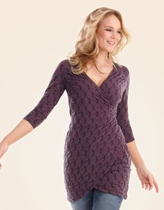 Textured Wrap Tunic in Plum by Pepperberry Tops