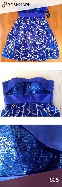 🆕 Clarisse Homecoming Prom Formal Dress Adorable formal dress by Clarisse! Blue and white with sequins. See description photo ⬆️ clarisse Dresses Prom