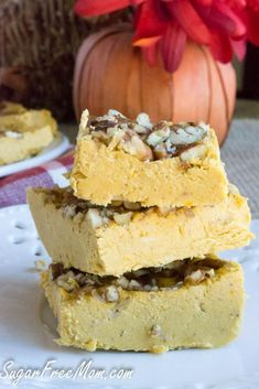 Paleo Pecan Pumpkin Pie Fudge- low carb, gluten free, vegan -sugarfreemom.com