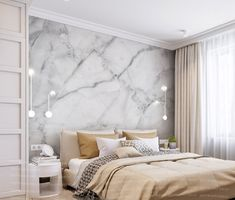 beauty Wallpaper bedroom - Marble Wall Mural Embossed Beautiful Wall Paper for Living Room Bedroom Entryway or Cafe Feature Wall Bedroom, Accent Wall Bedroom, Living Room Bedroom, Modern Bedroom, Wall Paper Bedroom, Bedroom Wall Designs, Cozy Bedroom, Bed Room, Bedroom Ideas