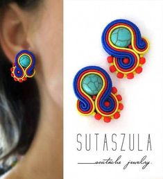 Colorful Clip-on Earrings Colorful Handmade Earrings Soutache earrings rainbow jewelry Colorful gioielli soutache clips ethnic jewelry - HIGH 5 HUMANS Gold Bar Earrings, Beaded Tassel Earrings, Soutache Earrings, Diy Earrings, Flower Earrings, Clip On Earrings, Earrings Handmade, Raw Stone Jewelry, Birthday Gifts For Her