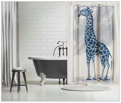 establish. - Giraffe Etching Shower Curtain