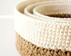 Crochet Stacking Baskets  PDF Crochet Pattern  Jute and Lace