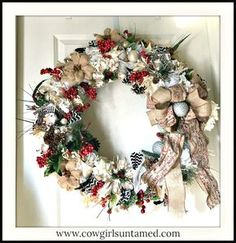 CHRISTMAS WREATH Heavily Embellished Large Burlap Red Glitter Ribbon Christmas Wreath with Battery Lights #wreath #Christmas #holiday #doorwreath #country #Birdhouse #countryliving #countrylife #ribbon #lights #red #White #chevron #florals #decor #vintage #burlap #style #beautiful #handmade #large #boutique #shopping #silver #art