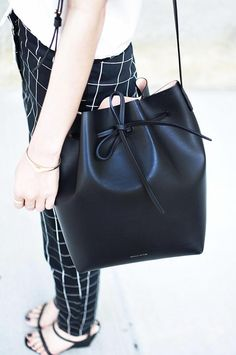 black and white, bucket bag