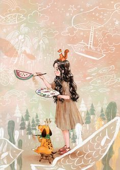 Image shared by Naty. Find images and videos about girl, wallpaper and dog on We Heart It - the app to get lost in what you love. Art And Illustration, Forest Girl, Fanarts Anime, Gouache Painting, Anime Art Girl, Whimsical Art, Cute Art, Illustrators, Fantasy Art