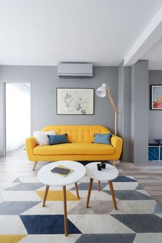 Stunning Living Room Ideas With A Yellow Sofa Home Room Design, Yellow Home Decor, Living Room Decor, Home Decor, Apartment Decor, Living Room Sofa Design, Yellow Sofa, Sofa Bed For Small Spaces, First Apartment Decorating