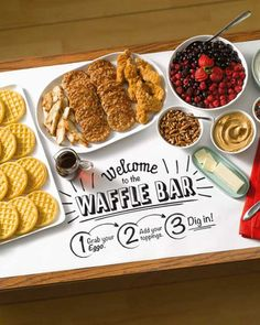 A DIY Waffle Bar is the perfect last minute Easter brunch menu that feeds a crowd with plenty of healthy options for even the pickiest eaters. Ingredients available at Walmart. Easter Brunch Menu, Brunch Buffet, Birthday Brunch, Breakfast Buffet, Brunch Bar, Breakfast Parties, Brunch Food, Breakfast Time, Pancake Bar