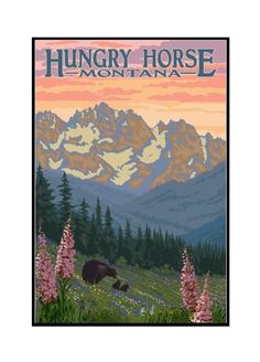 Hungry Horse, Montana - Bear Family & Spring Flowers - Lantern Press Artwork (16x24 Framed Gallery Wrapped Stretched Canvas), Multi