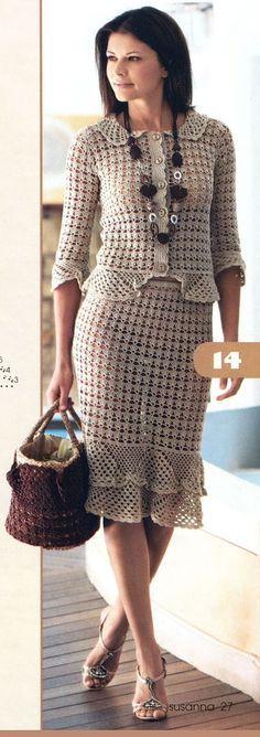 Chaqueta, falda y saco ..???? crocheted suit - pattern??? haven't checked