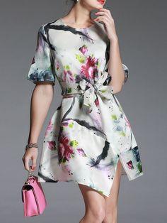 Floral-print Silk Mini Dress with Belt