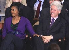 Bill Being Bill In This Picture: Photo of Michelle Obamas hand on Bill Clintons knee