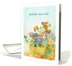 Happy Birthday in Irish Gaelic, Pansies, Watercolor card