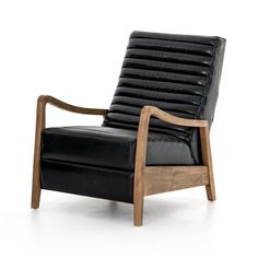 A dramatically shaped mid-century frame, modernized by channel tufting. Black top-grain leather contrasts with natural parawood, for a clean, cool look with vintage airs. A push recliner takes this forward-thinking lounger to the next level. Modern Tops, Modern Classic, Distressed Leather, Black Leather, Leather Recliner Chair, Leather Chairs, Studio Furniture, Furniture Design, Wooden Furniture