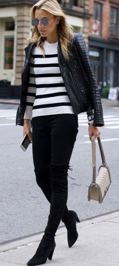 #fall #trending #outfits | Stripes + Black and White