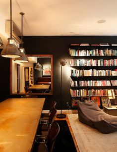 Inside Look ~ Black & Red Accents - DustJacket Attic Interior Architecture, Interior Design, Book Cafe, Home Libraries, Red Accents, Bookshelves, Living Room Decor, House, Furniture
