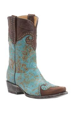 Old Gringo Yippee Ki Yay Mud Aqua with Vintage Brass Studded Snip Toe Western Boots