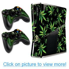 Designer Skin for XBOX 360 SLIM System $ Remote Controllers -Weeds - Black